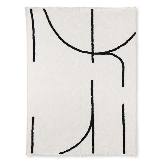 Image of White and black throw with tufted lines