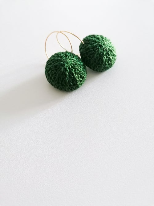 Image of Green Sea Urchin earrings MADE TO ORDER