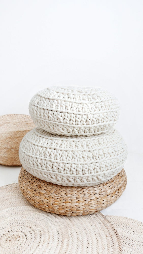 Image of Big Crochet Floor Cushion thick wool - Natural undyed