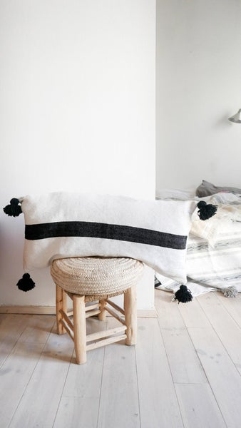 Image of Long Moroccan POM POM Cotton Pillow Cover - Black Wide Stripes