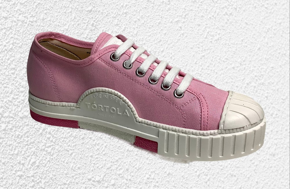 Image of Tortola lo top baby pink canvas sneaker shoes Made in Spain