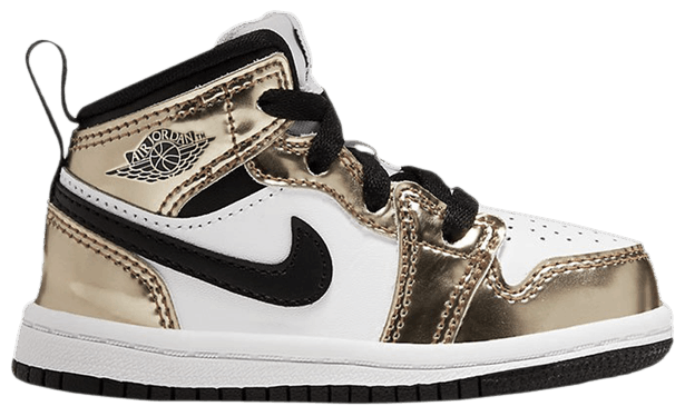 "Image of Nike Retro Air Jordan 1 Mid Toddler ""Mettalic Gold"" Sz 7c"