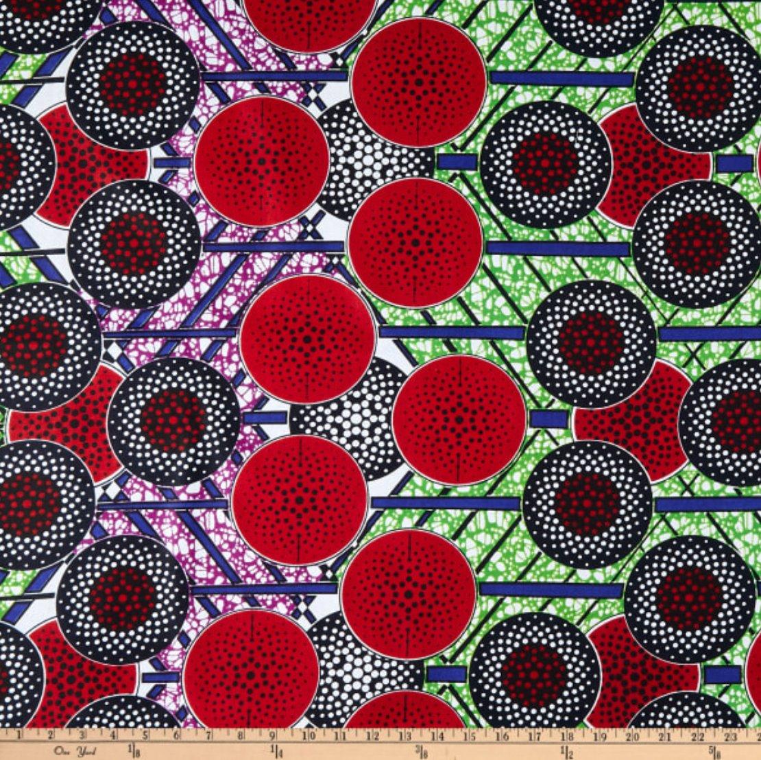 Image of Ankara Print Kgabu Red/Black Shade 30cm