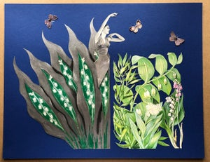 Image of Lily of the Valley. Original paper collage.