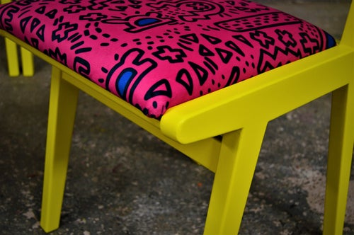 Image of 4x Vintage Mid Century G Plan Dining Chairs in Yellow with Pink Upholstery