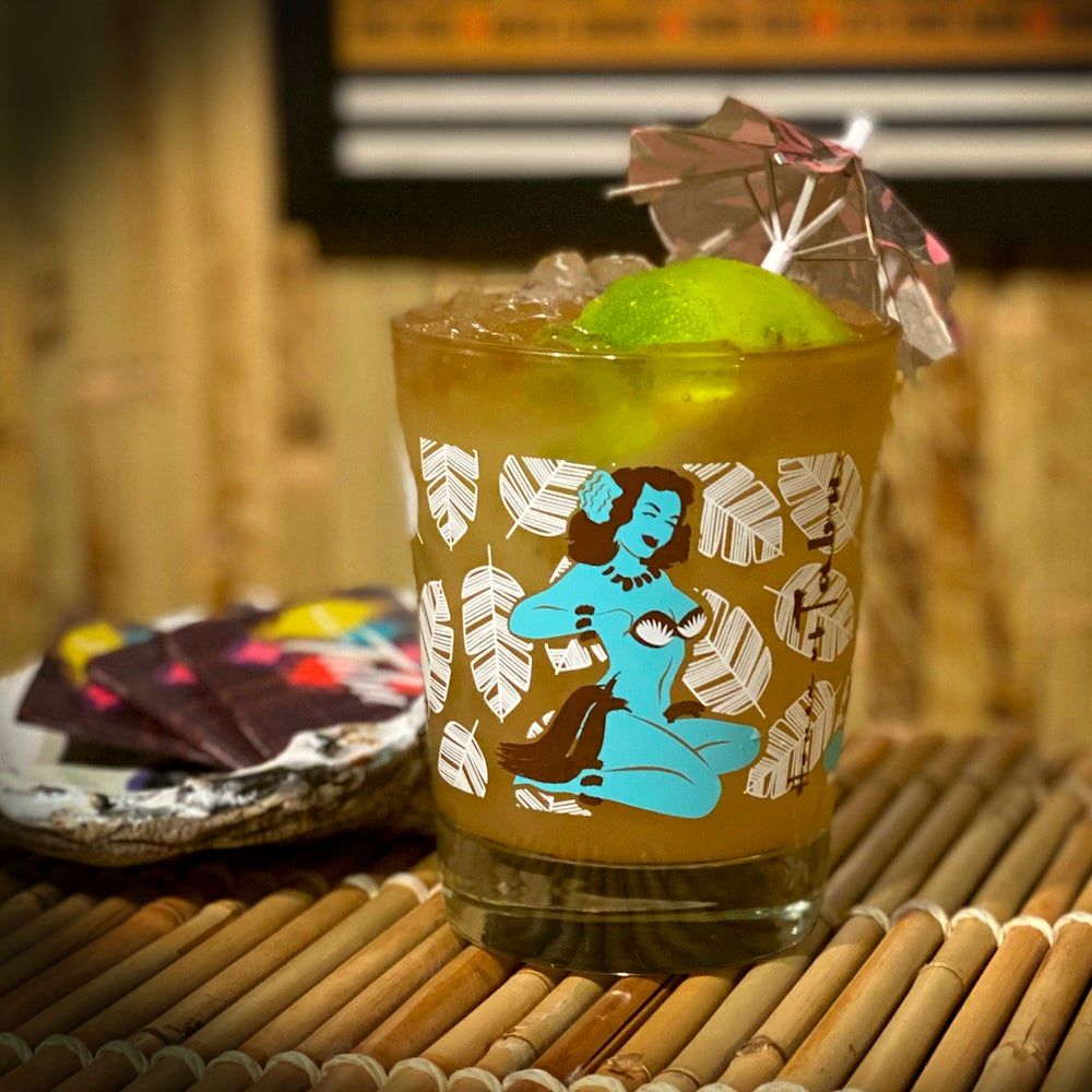 Image of I See What You're Swaying Mai Tai Glass Blue/Brown