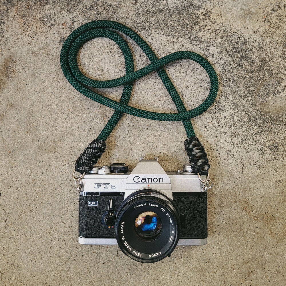 Image of Hunter green rope shoulder strap w/ split ring attachments