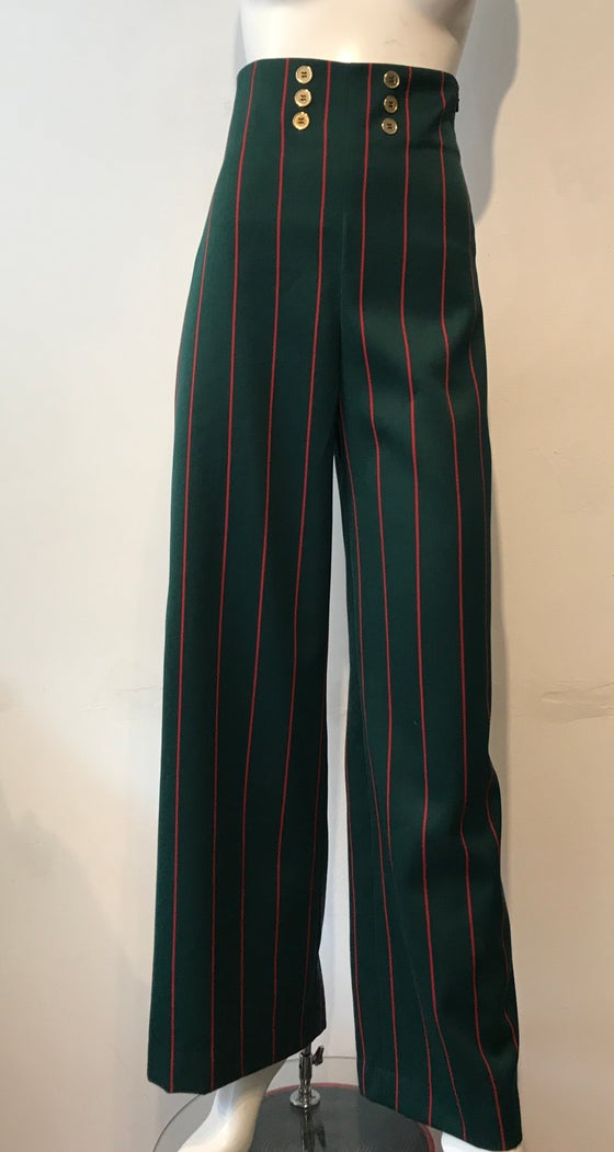 Image of High waist blazer stripe trousers
