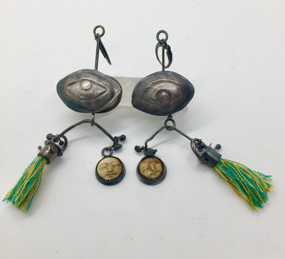 "Image of ""Face of the Moon"" Prayer Box Earrings"