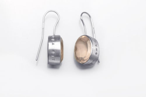 """Image of """"With each other let's enjoy love"""" silver earrings with rose quartz  · INTER NOS LAETEMUR.. ·"""