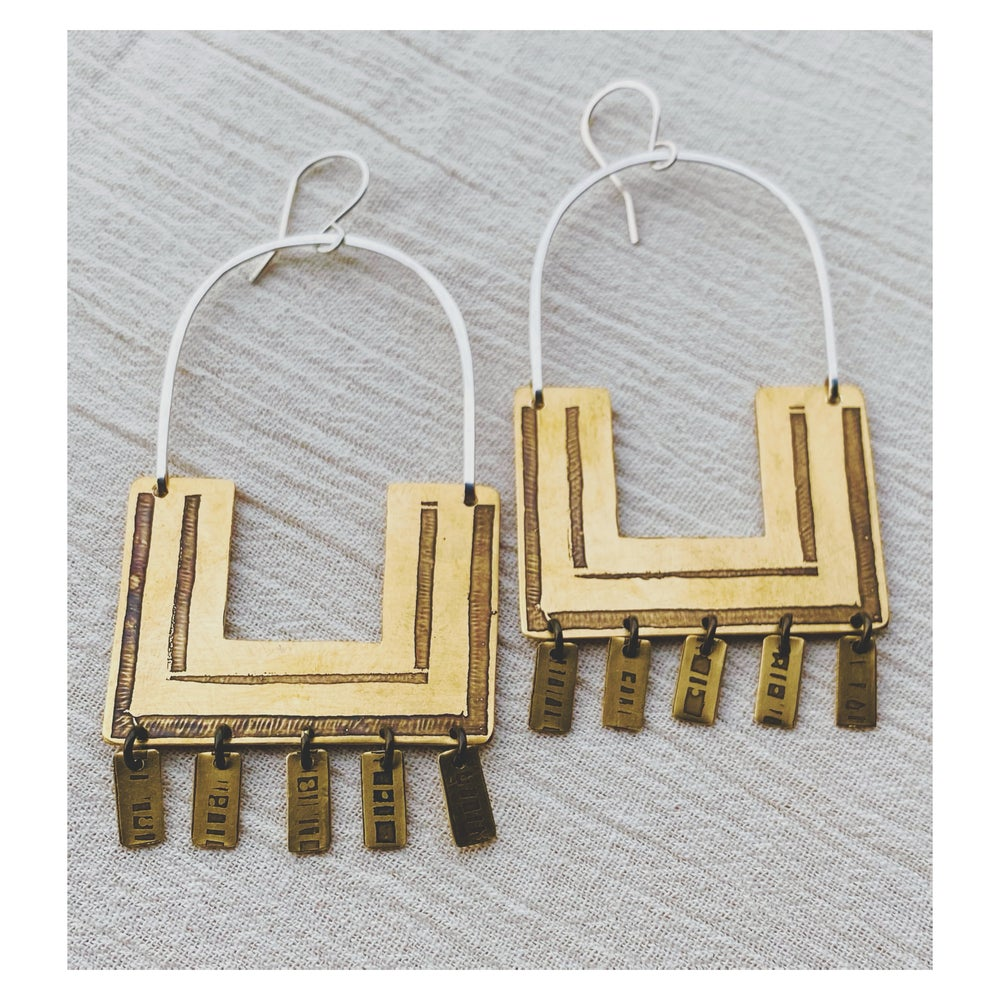 Image of Large Square Hoops w Tassels