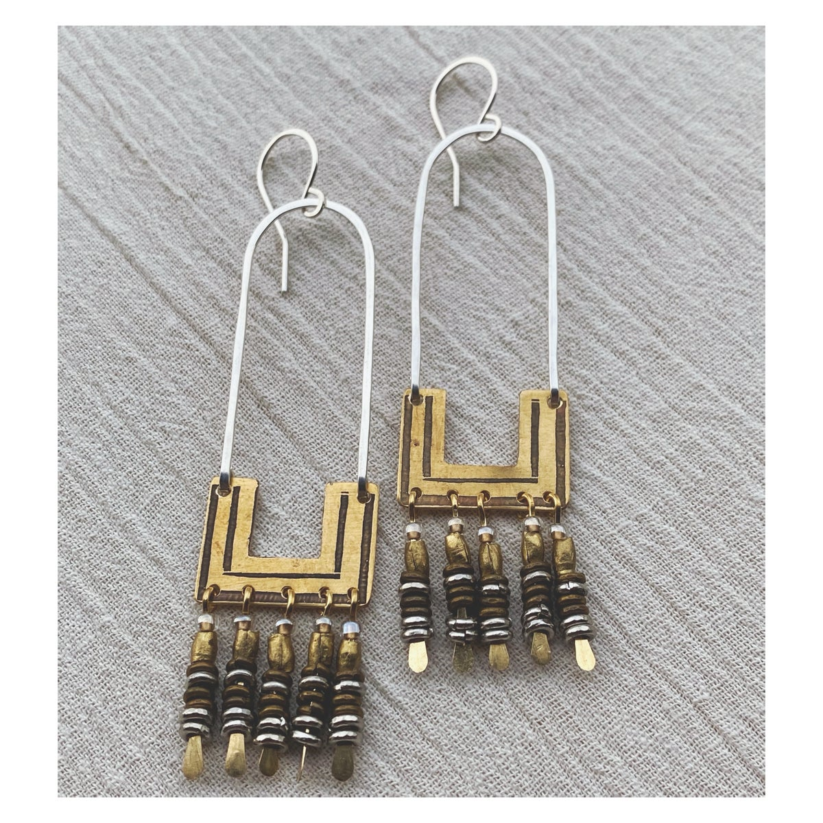 Image of Small Square Hoops w Tassels