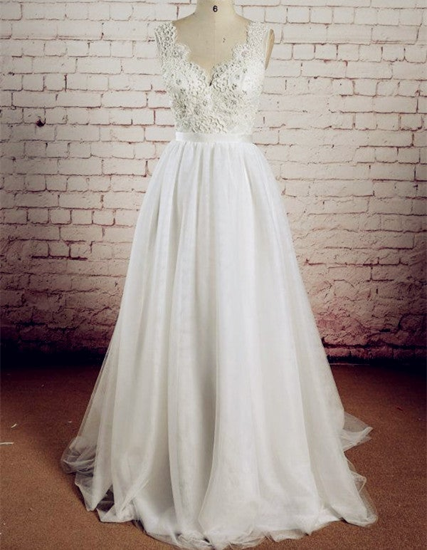 Charming V-Neck Lace Wedding Dresses, Simple Ivory Wedding Party Dress Formal Gown