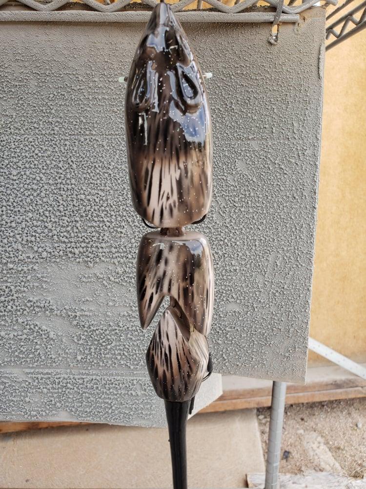 Image of 3 Piece V-Cut. Tan Coca Black Fur and Splatter Belly.