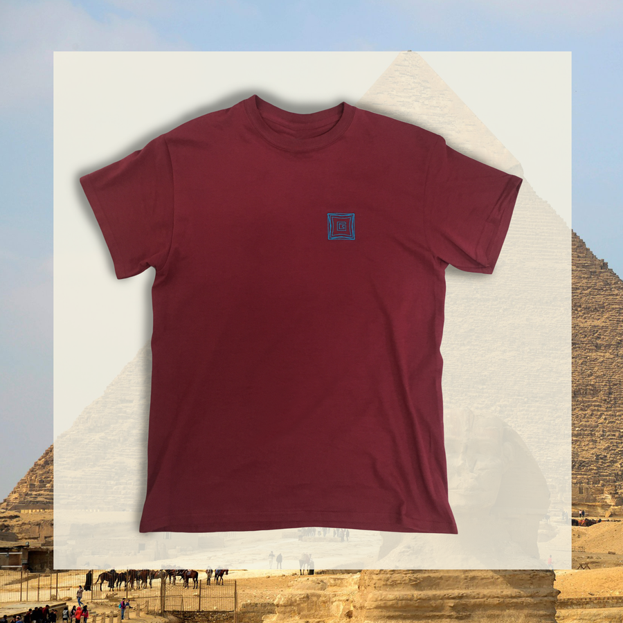 """Image of """"Grand Design"""" embroidered Ts. Maroon/Forest Green/Heather Grey"""