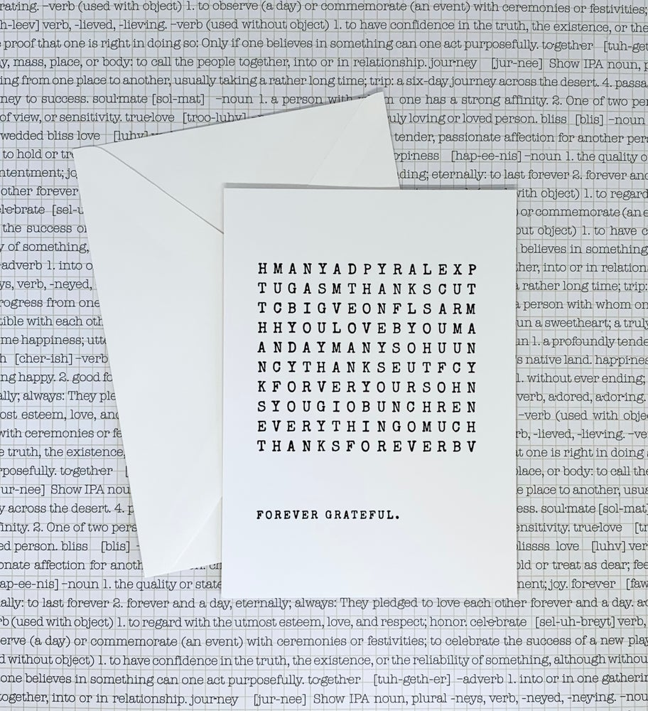Image of word search postcard