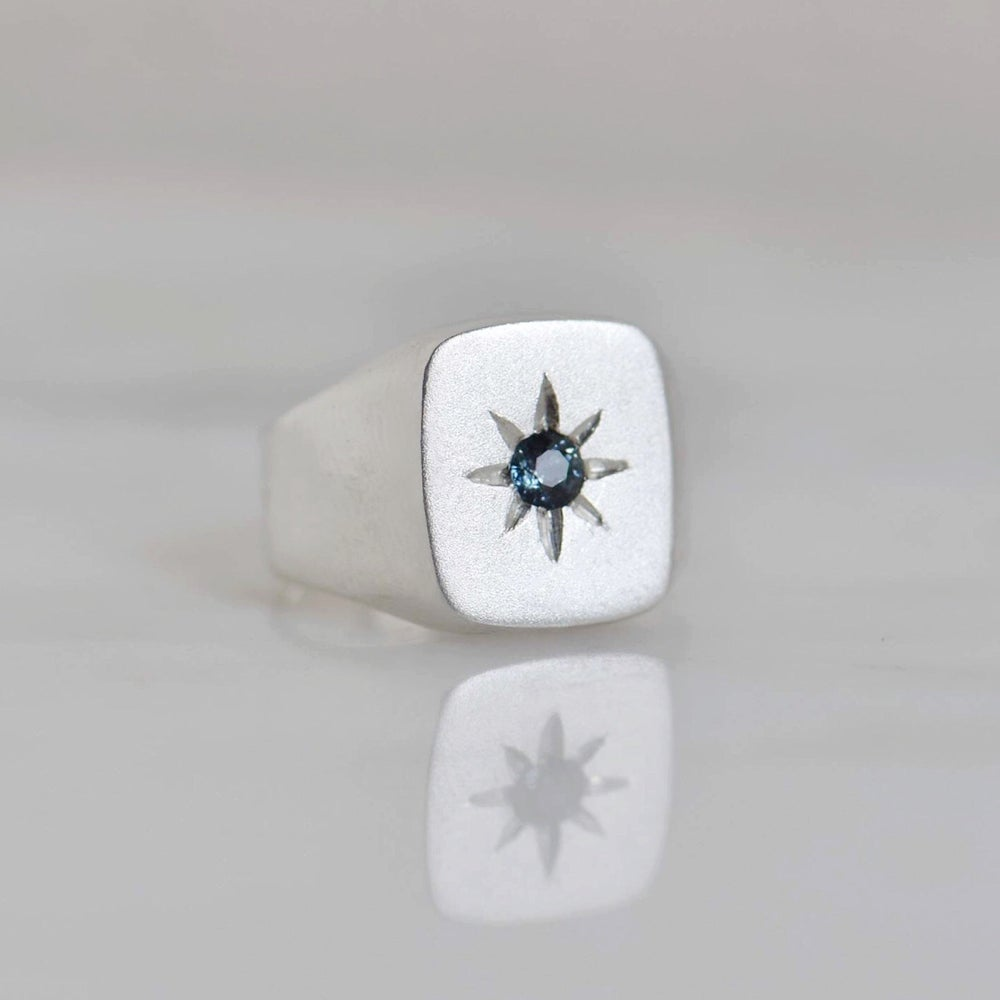 Image of Blue Star x Natural Blue Sapphire crystal solid frame silver signet ring