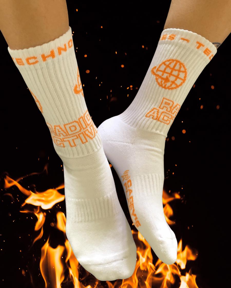 Image of Radio Active Technologies Crew Sock (White/Orange)