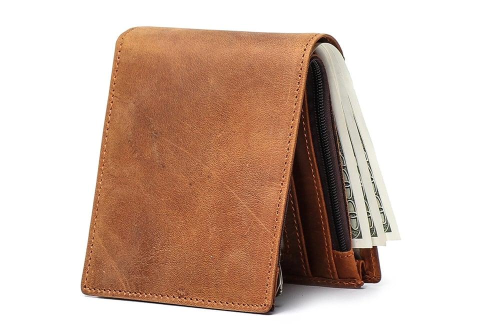 Image of Handmade Wholesale Genuine Leather Wallet Money Purse Bag Men Short Wallet Card Holder 198