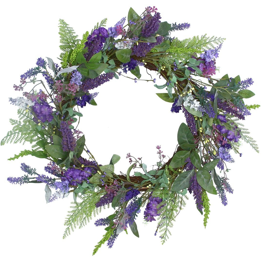Image of Gisela Graham Lavender and Blue Flower Spring Wreath
