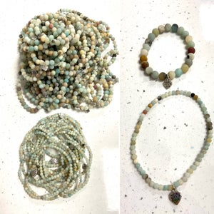 Image of Frosted Natural Amazonite  Well Being Beads - Prices From £5