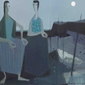 Image of Mid Century, Oil Painting, 'Two Woman,' Fabian Lundqvist