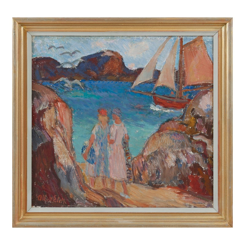 Image of Early 20th, Century Oil Painting, 'Morning Breeze,' Albert Eldh (1878–1955)