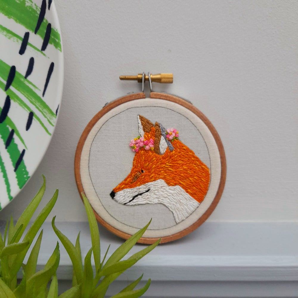 Image of Fox And Flowers Hand Embroidered Art