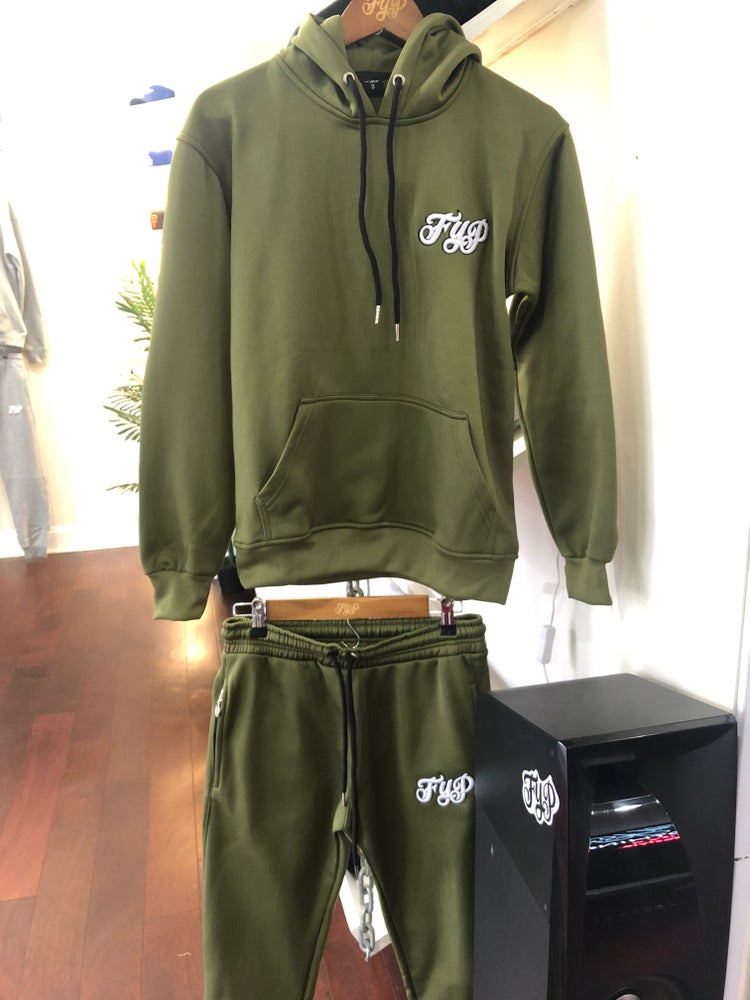 Image of Olive Green Polyester Sweatsuit