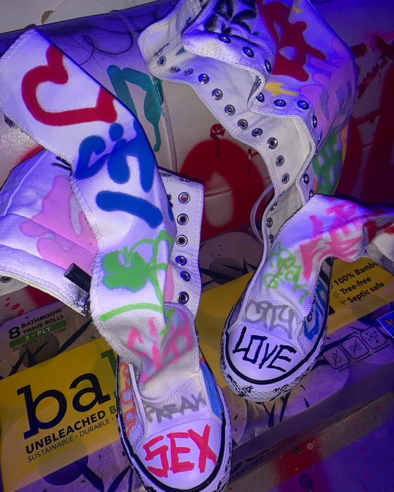 Image of Freak City Graffiti Tall Lace-Up Sneakers