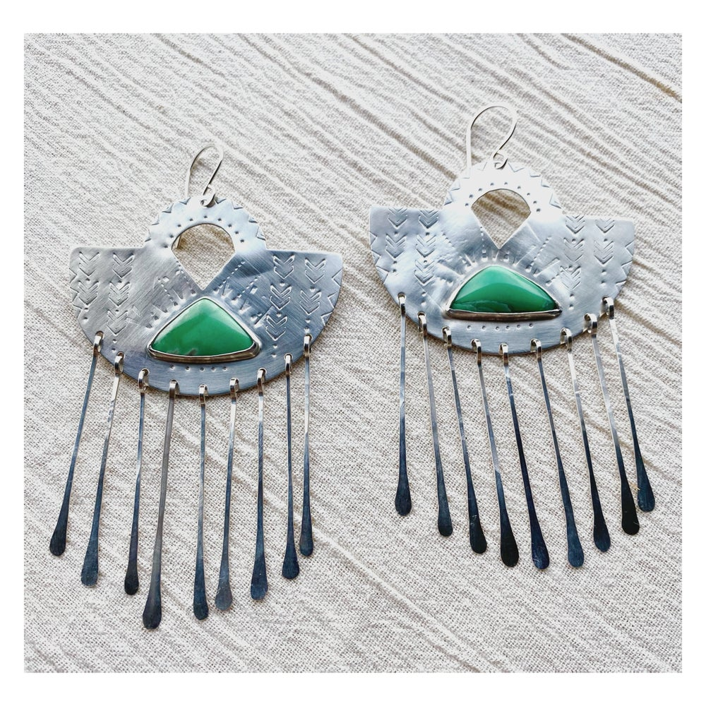 Image of Variscite Silver Fans (Discounted)