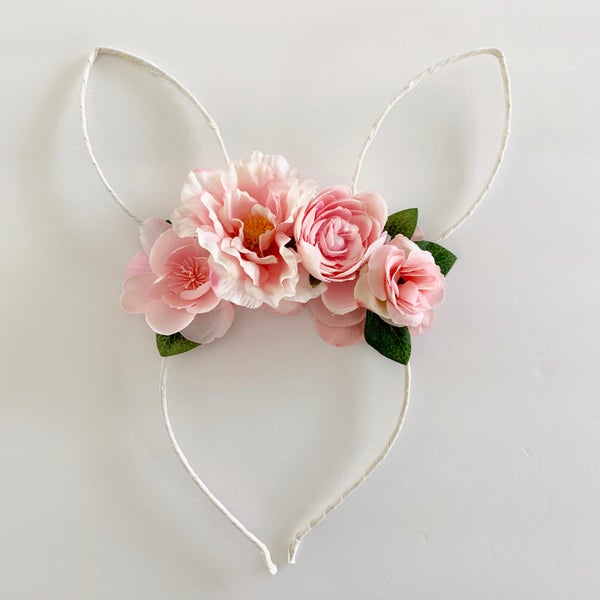 Image of Floral Bunny Ears - Bubblegum and White