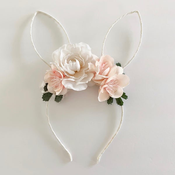 Image of Floral Bunny Ears - Cream, Soft Blush and White