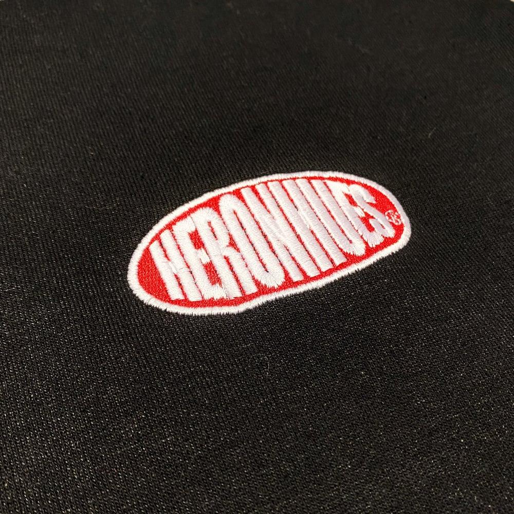 Image of 14oz Heron Hues Logo Black Red Sweat Pants