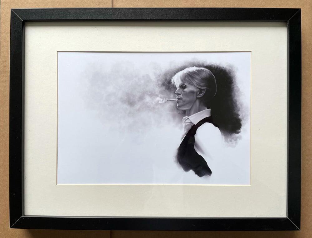 'Bowie Smoking' Art Print by Alisdair Wood