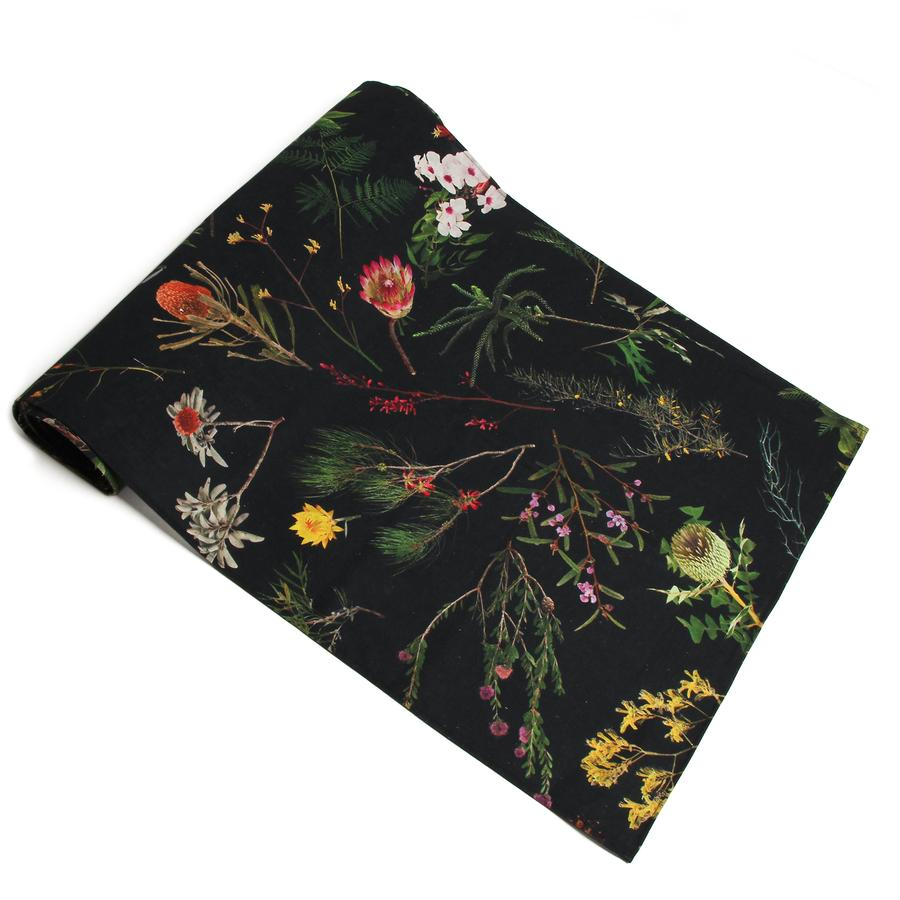 Image of NGV TABLE RUNNER FALLEN FRUIT NATIVE PLANTS BLACK