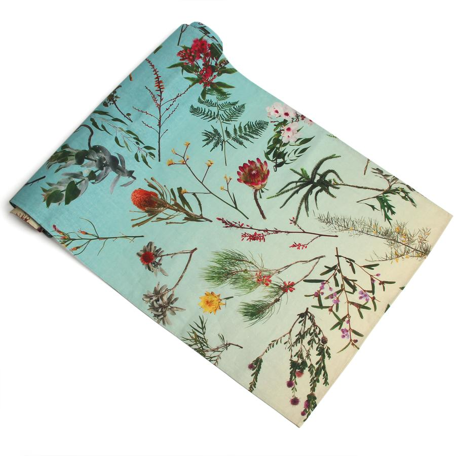 Image of TABLE RUNNER FALLEN FRUIT NATIVE PLANTS BLUE