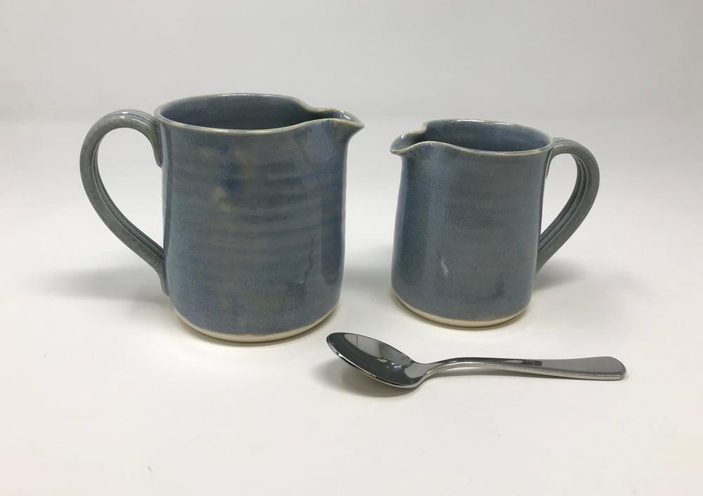 Image of Small and Medium Blue Glaze jugs