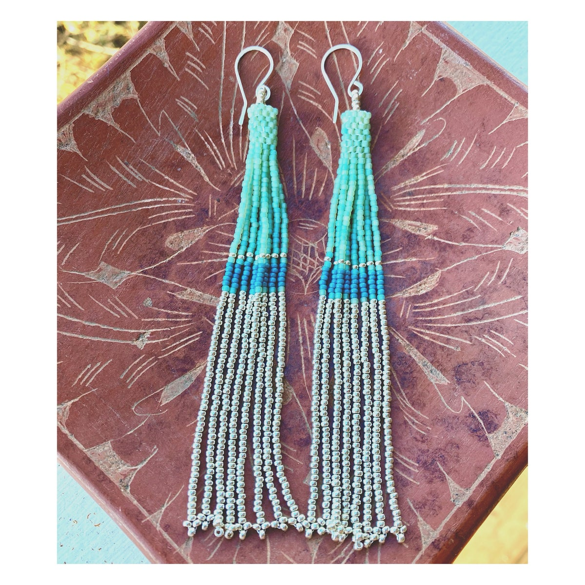 Image of Seafoam + Silver Cylinder Beads