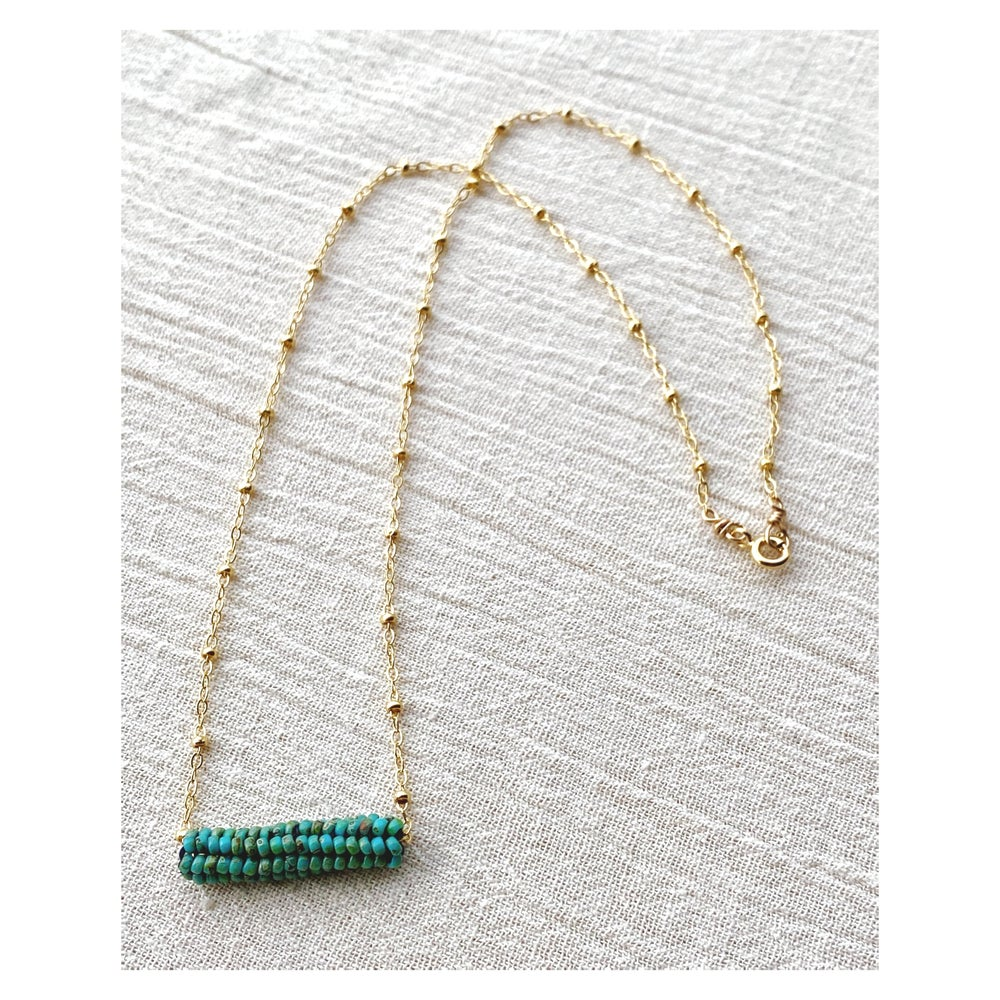 Image of Sweet Pea Necklace ~Turquoise +14k GF
