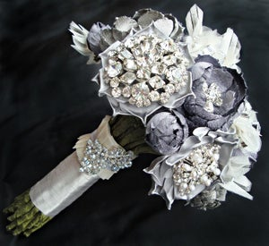 Image of New York Bouquet - Silver and Ivory Vintage Accent Bouquet