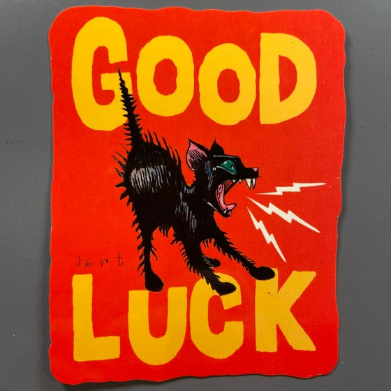 Image of XL-GOOD LUCK- SLAP- RED- VINYL SCREEN PRINT STICKER