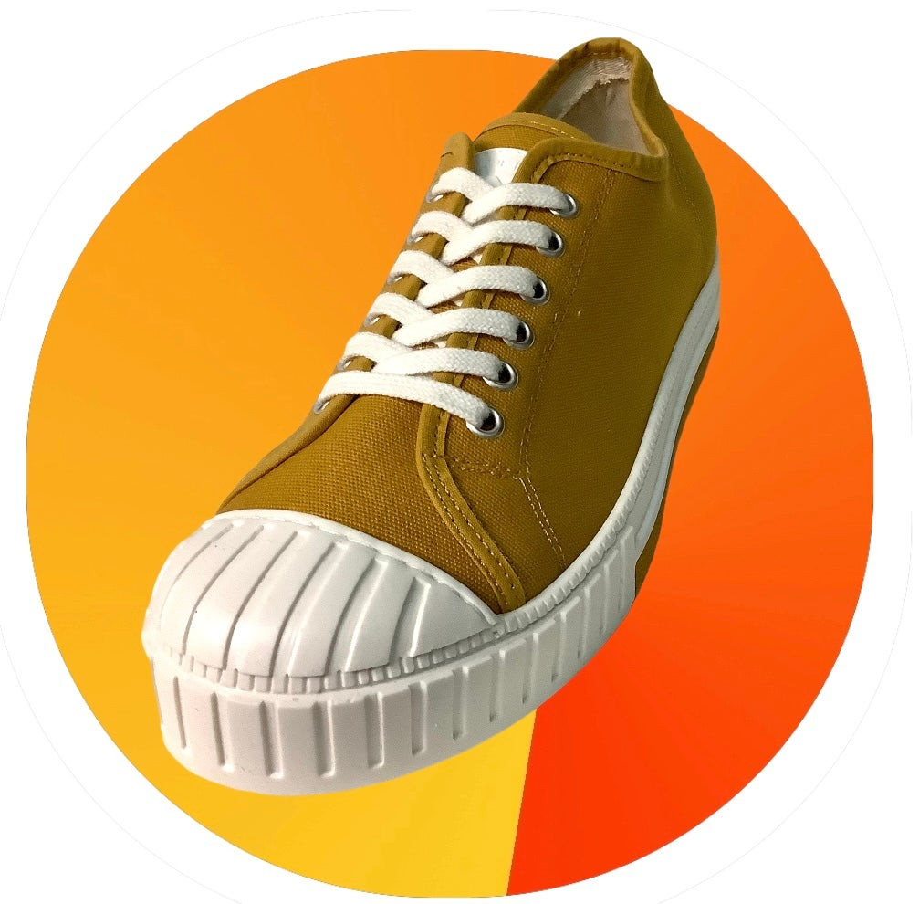 Image of Tortola canvas mustard lo top sneaker shoes made in Spain