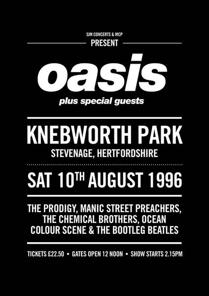Image of Oasis Knebworth Poster- Gig from 1996