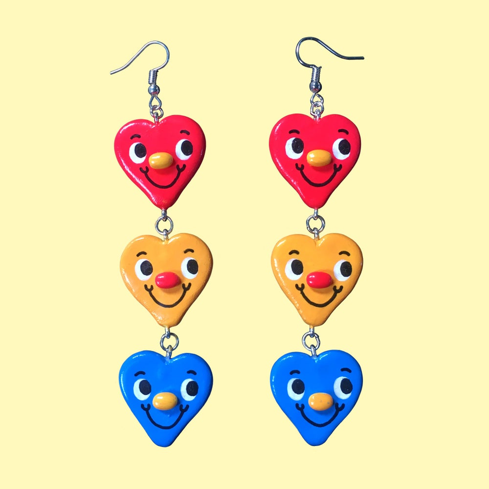 Primary Colour Heart Trio Earrings