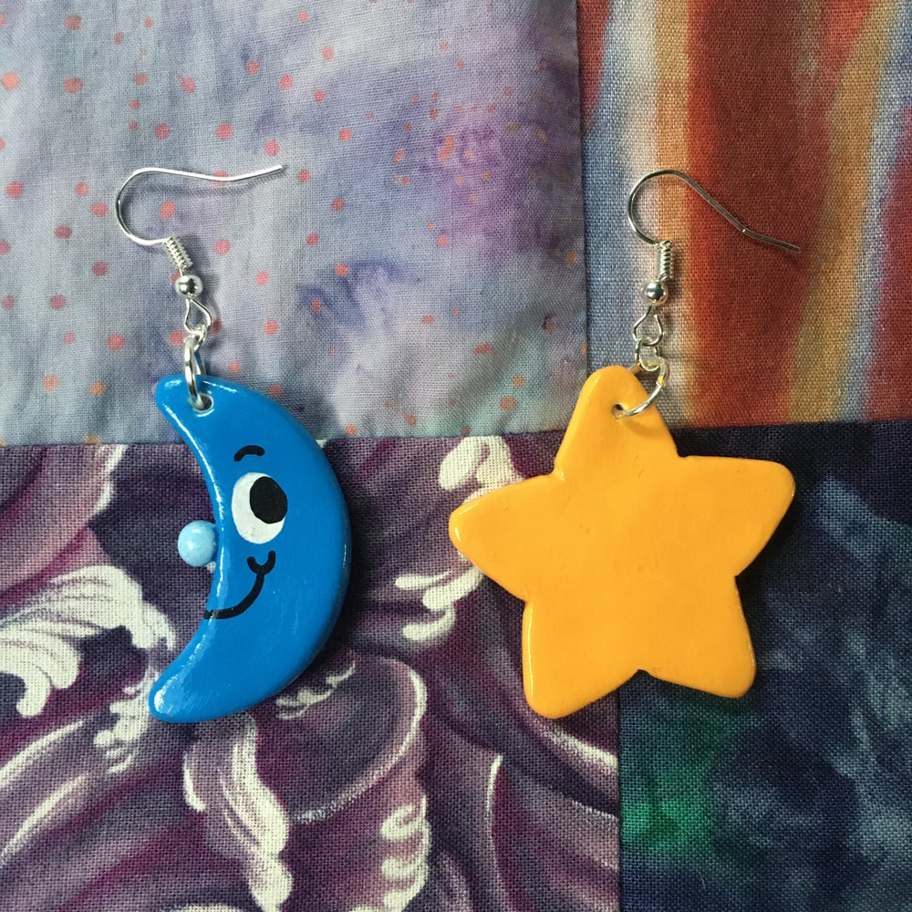 Mismatched Moon & Star Earrings