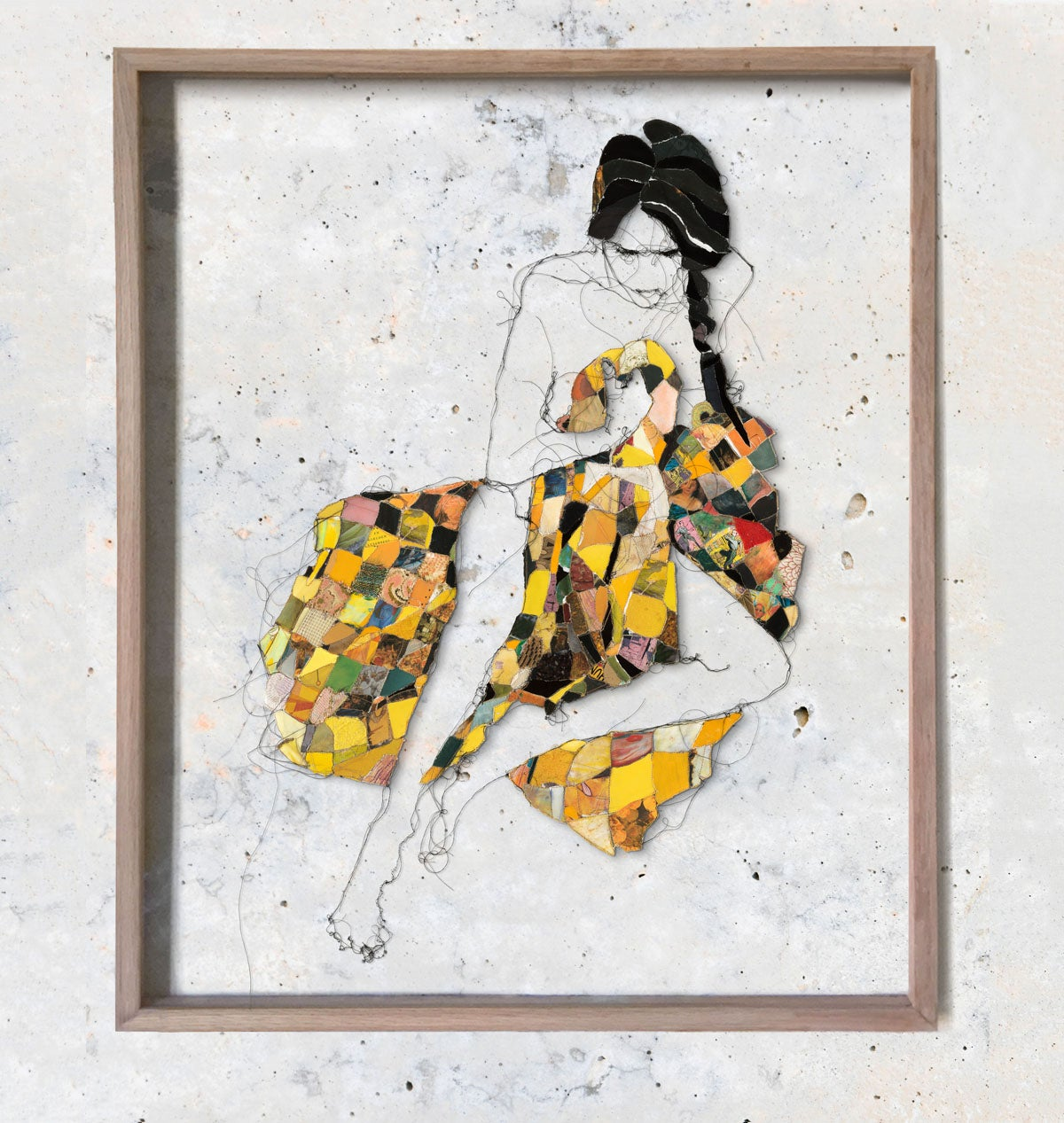 Image of Melancholic woman in yellow blanket Original
