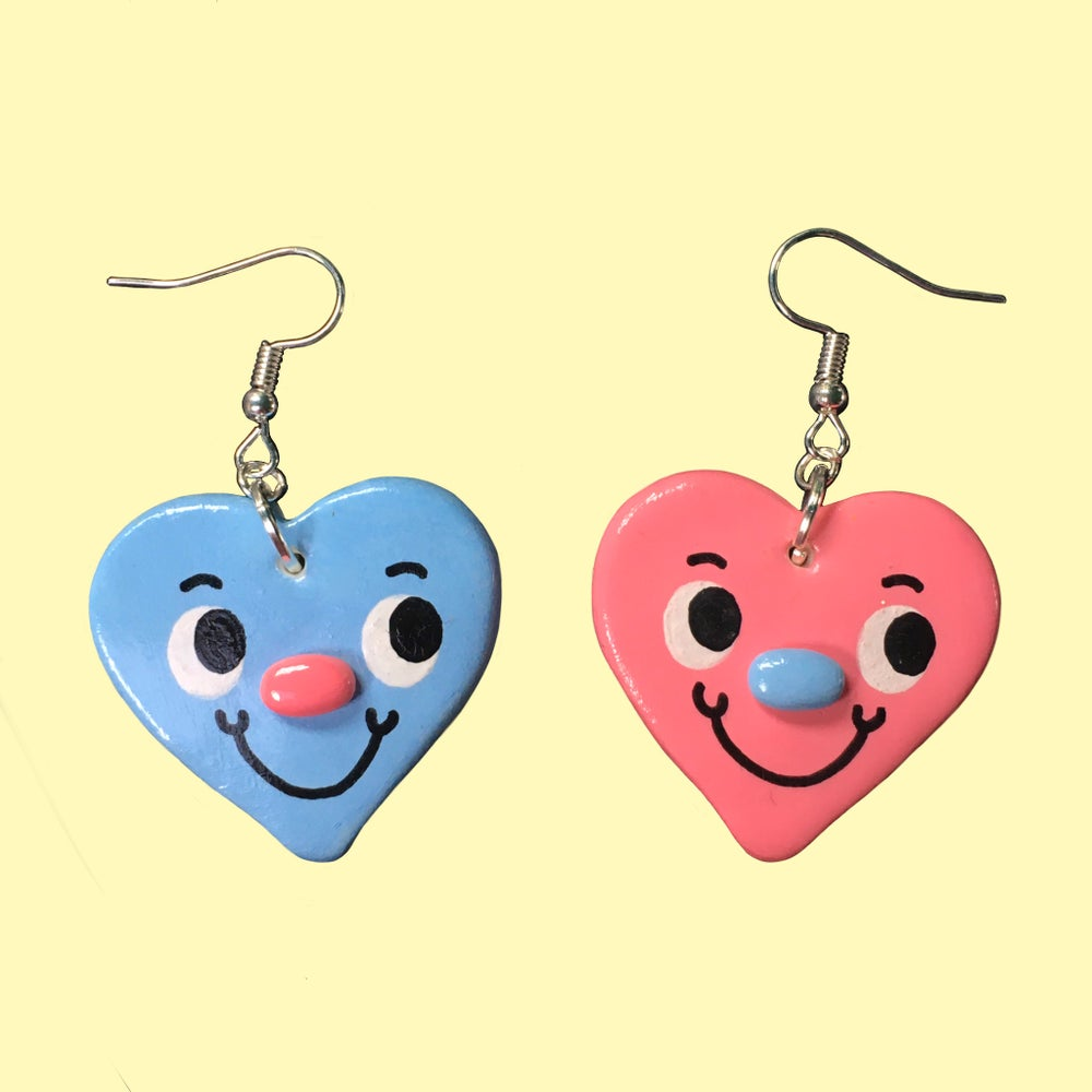 Mismatched Pink & Blue Heart Earrings
