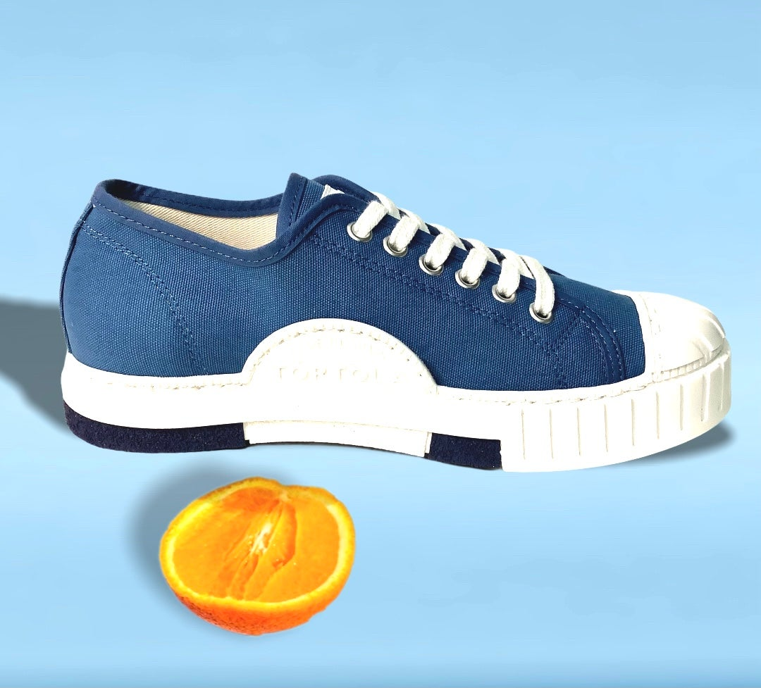 Image of Tortola canvas blue lo top sneaker shoes made in Spain