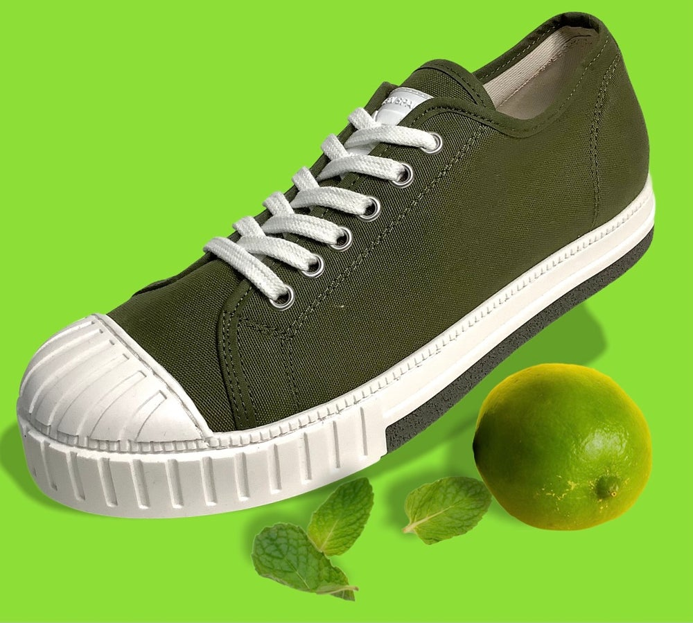 Image of Tortola canvas olive lo top sneaker made in Spain